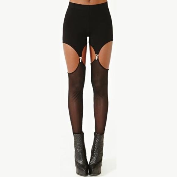 Suspender Garter Black Leggings